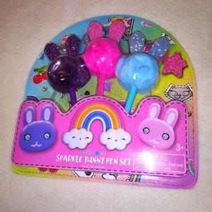 Limited Too Sparkle Bunny Pen Set NIB